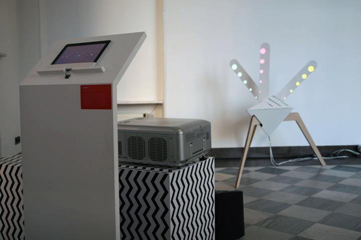 peacock (alpha) interavtive kinetic av mapping sculpture