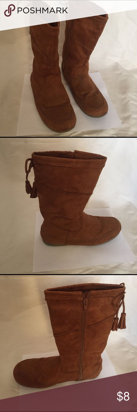 Mudd brown boots Mudd brown flat boots with tassel size 5 (used) Shoes Ankle Boots & Booties