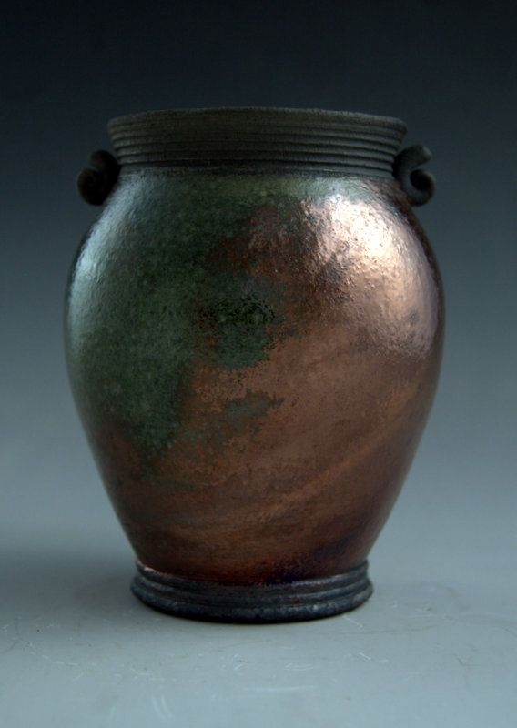 Raku Pottery Metallic Copper Green Handmade Art Raku