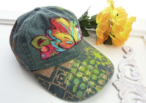 Hand Painted Baseball Cap Artsy Hat Cotton Visor Ooak Etsy Painted Baseball Cap Ooak Hats