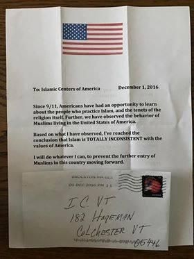 The letter (received by the Islamic Center of Vermont) reads: To Islamic Centers of America   December 1, 2016 Since 9/11 Americans have had an opportunity to learn about the people who practice…