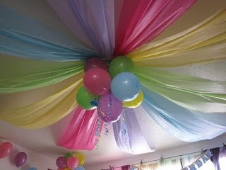 Crafty Mommy Diva: Butterfly Pink and Lime Birthday - Tablecloth Streamers