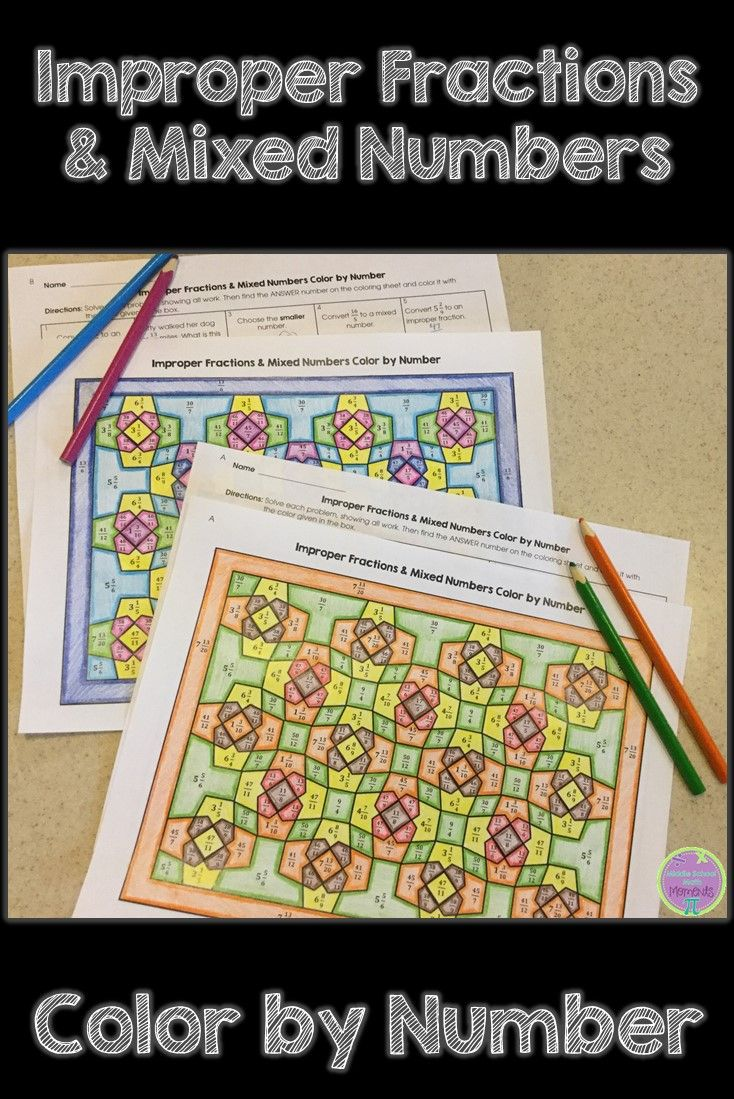 Co color by number games kids - Color By Number Is A Great Math Activity To Review Concepts Like Improper Fractions And Mixed