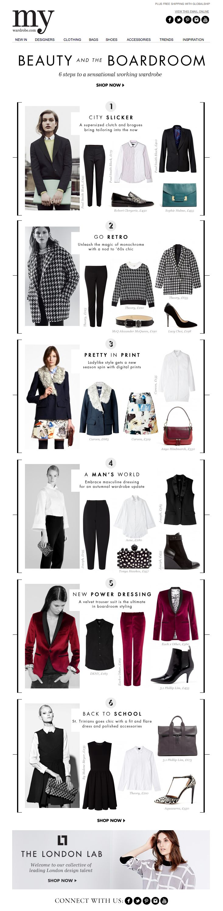 One version of the shopping site. Because of clear divisions and illustration of examples, the reader can understand at first glance whether it refers to her interest and tastes or not. So probably one of the alternatives...