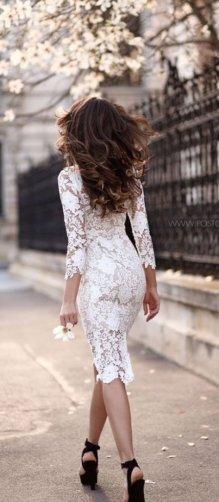 #street #style white lace dress @wachabuy