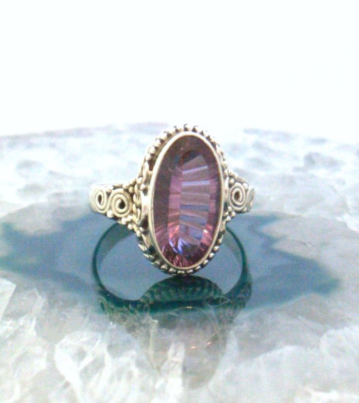 Sz 9.5 (S 3/4), Colorchange ALEXANDRITE (lab) Oval Green, Blue, Purple Gemstone, 925 Solid Sterling Silver Filigree Style Ring Jewellery! by AmeogemJewellery on Etsy