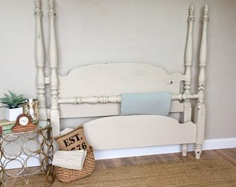 Queen Poster Bed - Vintage Furniture - White Wooden Bed Frame - 4 Poster Bed - Shabby Chic Furniture - Four Poster Bed Frame - Farmhouse Bed