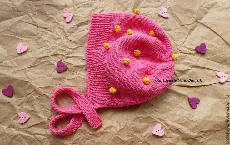 Купить Детская шапочка с пупырышками Морошка - розовый, в горошек, детская шапка, шапка для девочки