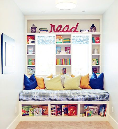Creare un angolo lettura per bambini in cameretta o in salotto - Libreria e letto