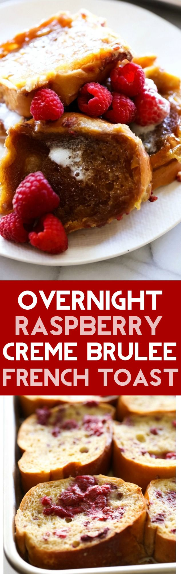 Overnight Raspberry Creme Brûlée French Toast is super easy! All the prep work is done the night before and it is coated in a sweet raspberry egg mixture and has a delicious crispy sugar topping that knocks it out of the park! This is a MUST TRY!