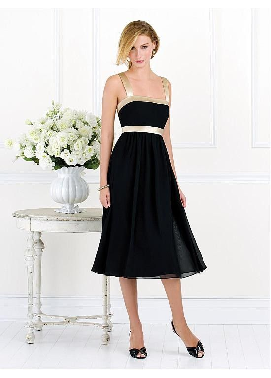 Stuning Square Empire Tea-length A-line Black Beach Bridesmaid Dress