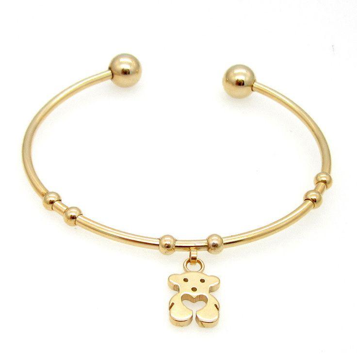 New Hot Sell! Fashion 18K Gold Plated Cute Bear Bracelets Bangles High Quality Little Girl Charm Bracelets For Women! Best Gift