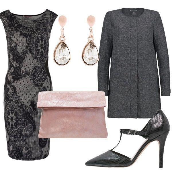 Questo sexy vestitino in pizzo è l'ideale per una cerimonia o per una serata speciale. In questo outfit l'ho abbinato ad un classico cappottino grigio e a delle décolleté t-bar. Per ravvivare il look ho aggiunto una pochette rosa e degli orecchini luminosi.