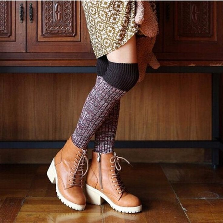 Women Ladies Harajuku Knitting Over Knee Thigh Stockings High Socks Boots Hosiery at Banggood