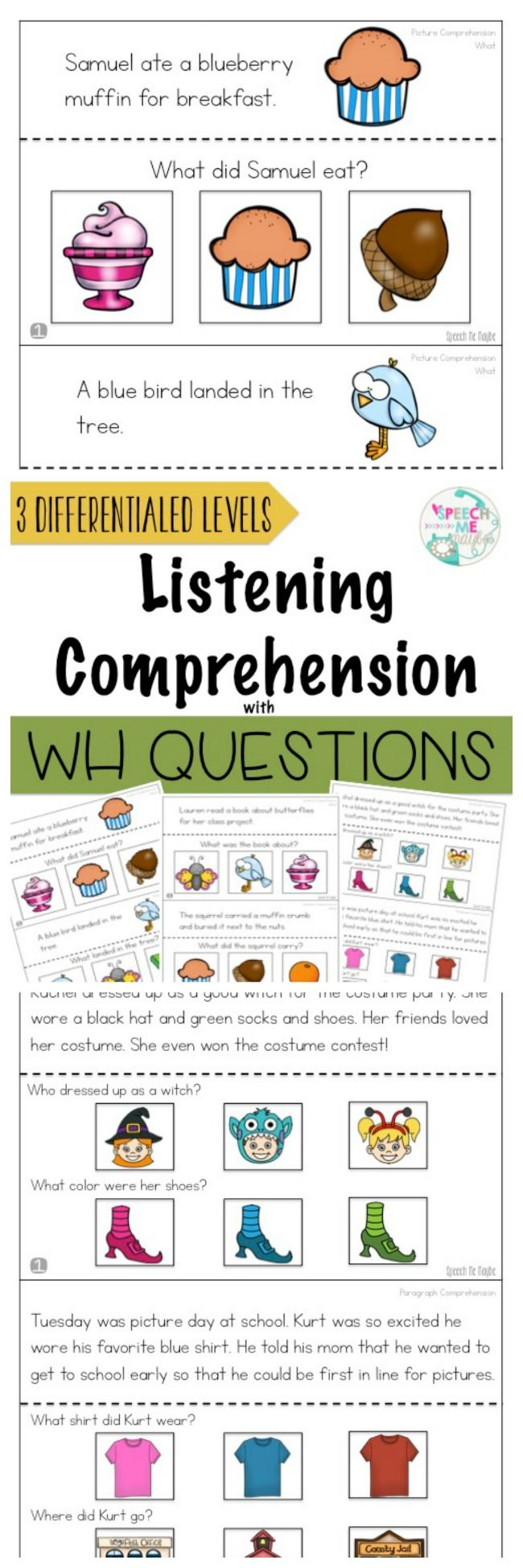 This resource is a comprehensive product to elicit who, what, when, where questions within different levels. With this packet, you can take baseline data, track for progress monitoring, and establish goals based on results from the questions. Our students with autism and our English language learners have a difficult time answering WH questions without visuals.