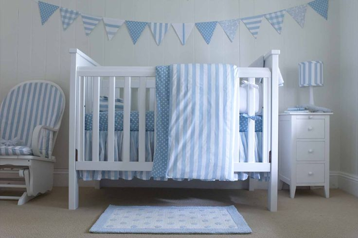 Cot Duvet Cover including 1 pillowcase Front of duvet cover in blue stripe and back and pillowcase in blue spot 100 x120cm Made in Australia from 100% cotton. All fabrics exclusive to red plum linen.