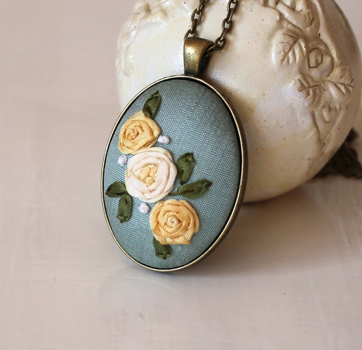 Yellow Roses On Teal Silk Dupioni Silk Ribbon Embroidery Pendant Necklace. $32.00, via Etsy.