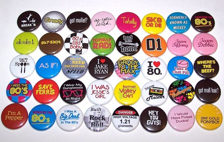 "I need these!!!!! Everything 80's Buttons Party Favor Set of 40 1 Inch Pin Back Buttons 1"" Pins or Magnets 1980's Theme Party by DistinctDesignsUnltd on Etsy"
