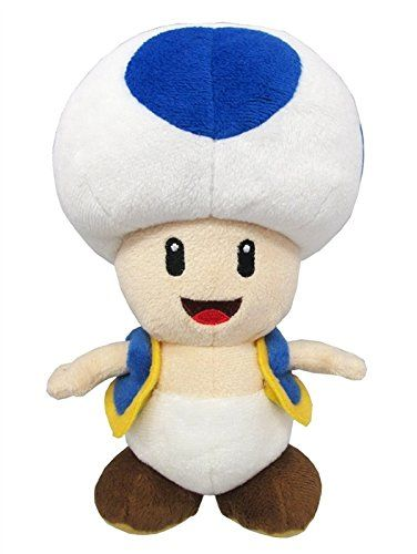 """Little Buddy Super Mario All Star Collection 1588 Blue Toad Stuffed Plush, 8""""  Official Product By Little Buddy  Makes a great gift!  Cute and Collectible  Limited Availability  Approx. Size: 4""""L x 4""""W x 8""""H"""