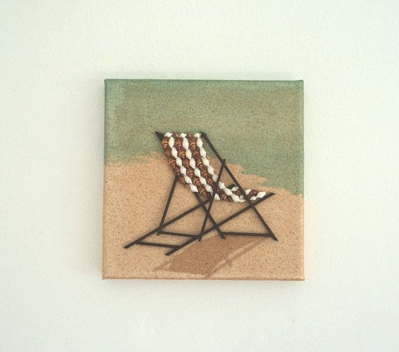 Deckchair in Seashell Mosaic & Wood on Sand, Beach Artwork with Seashells and Sand, Art Wall Picture of Deckchair, Mosaic Art, 3D Art Collage, Home Decor, Wall Decor #ArtworkwithSeashells #mosaiccollage #seashellmosaic #homedecor #walldecor #3D