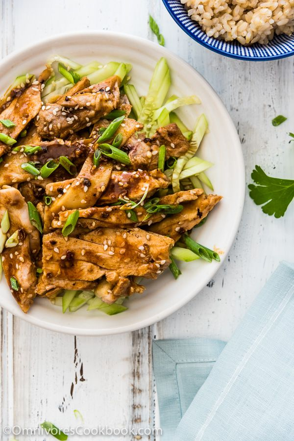 Sichuan Chicken with Spicy Sesame Sauce (怪味鸡) - It is served with a numbing, spicy, nutty sauce that is addictively tasty. It may look plain, but it will blow your mind with a single bite. | omnivorescookbook.com: