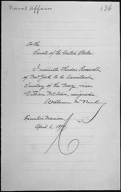 Message of President William McKinley nominating Theodore Roosevelt to be Assistant Secretary of the Navy, 04/06/1896