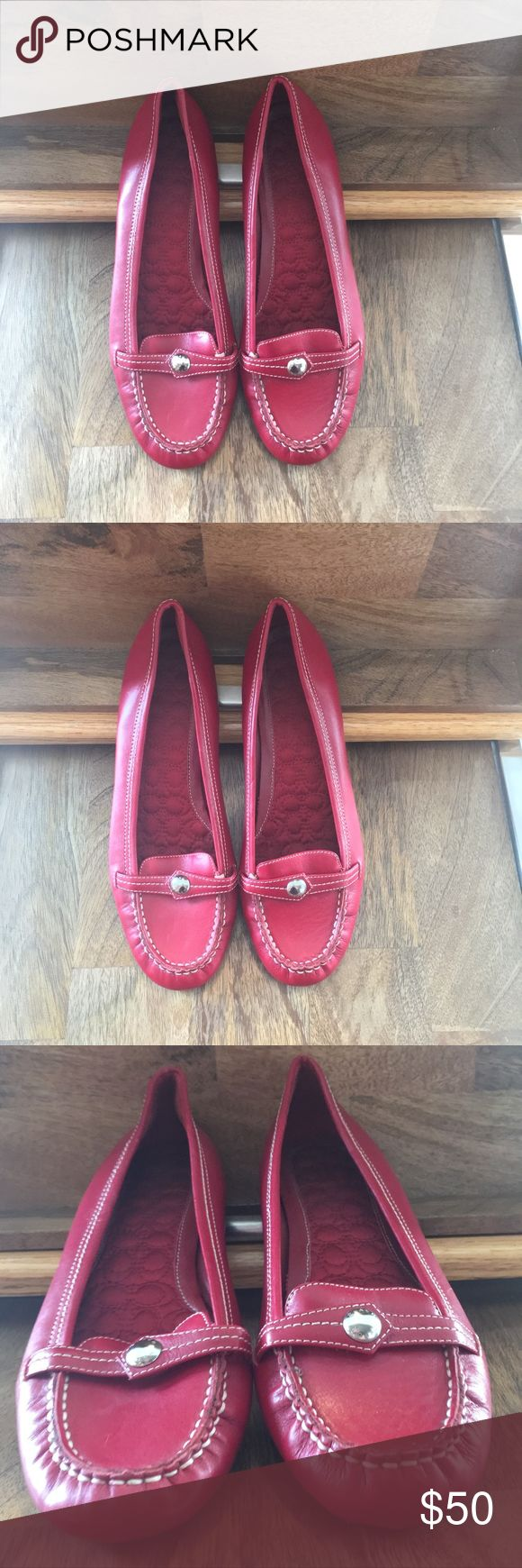 Red Coach flat shoes size 8.5 NWOT Brand New (W/O Tags) pair of COACH red flat slip on penny loafer women shoes. They are size 8.5 - which was just a to small for me. These are classic, timeless shoes! Coach Shoes Flats & Loafers