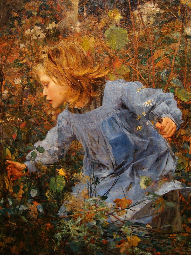 """Woodgatherer"" - Jules Bastien-Lepage (French, 1848–1884) oil on canvas, 1881 {rural and landscape art female young woman profile cropped painting detail #loveart #ninetheenthcentury #arthistory}"