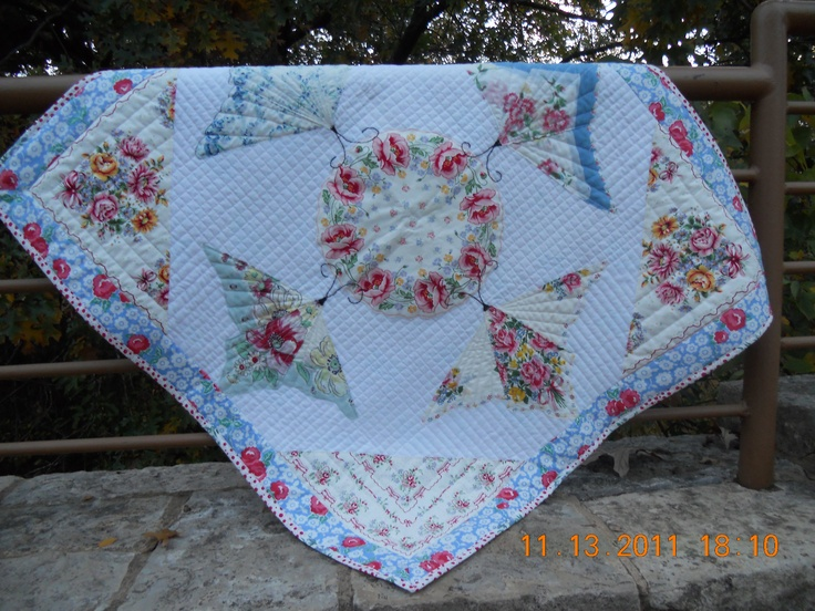 This quilt was created making Hankies into butterflies.