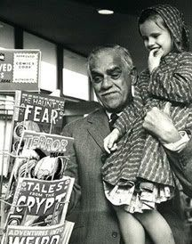 A wonderful shot of Boris Karloff selecting an EC Comic Book,for his little girl Sara. Keeping the family tradition of horror alive. Grand Pa Boris knows what's best,the great comic books from EC(Educational Comics). I Love these scenes with vintage comic books and olde-style spinners & display racks.