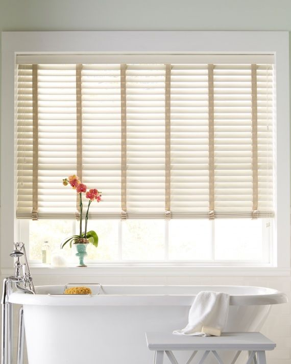 #WindowTreatments: Faux Wood Blinds are perfect for a humid environment such as a bathroom #MarthaWindow #JCPenney #redecorate