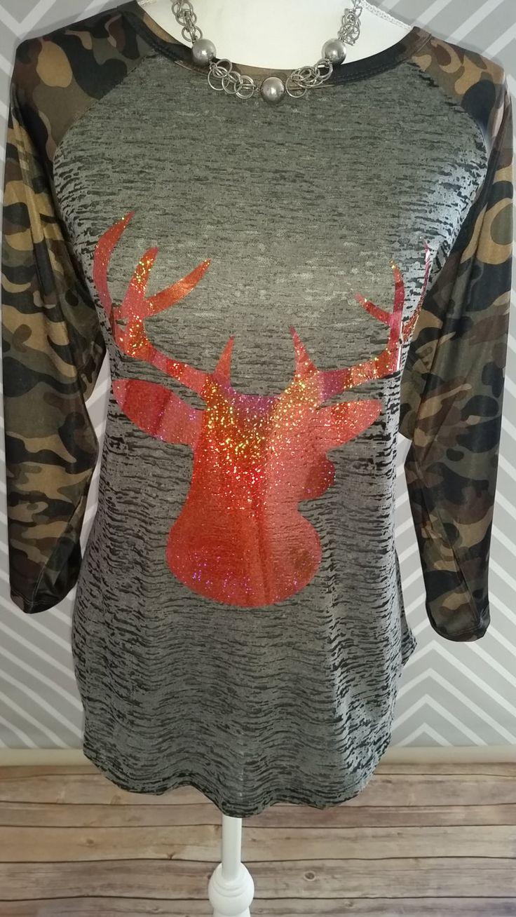 hunting shirt, deer shirt, womens hunting shirt, womens deer shirt, camo shirt, shirt, t-shirt, tee, womens camo shirt, baseball shirt, deer by RACustomDesigns on Etsy