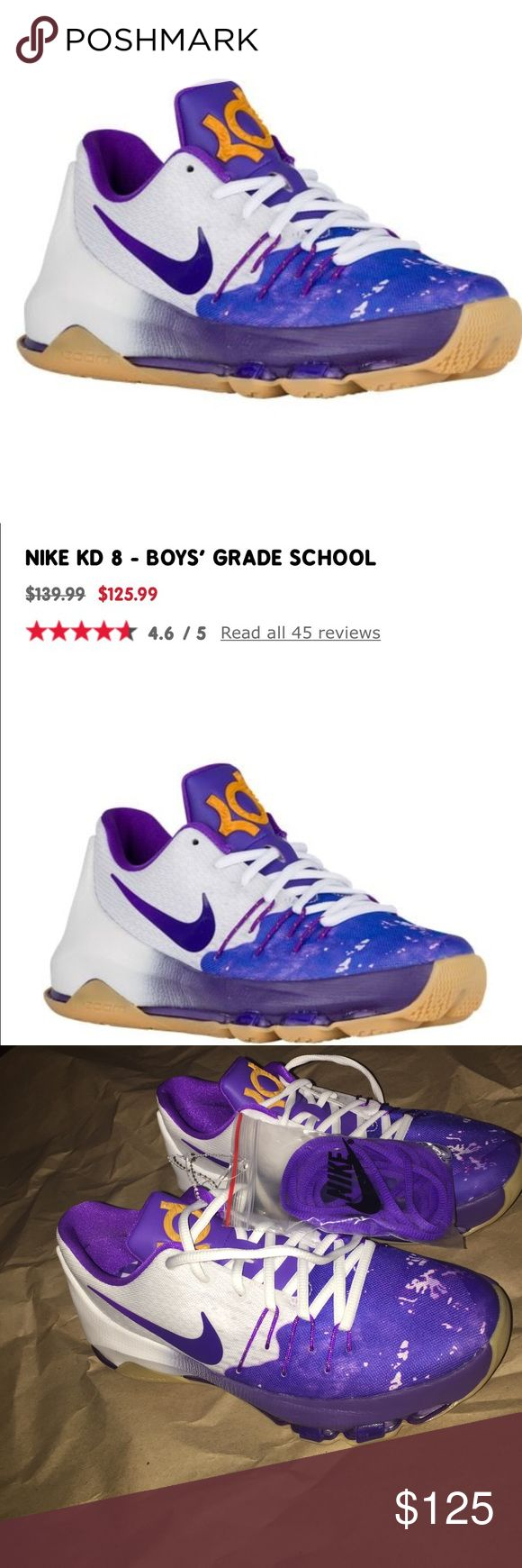 NEW rare Nike Purple and white sneaker kD youth Price firm ships next day ❤️ unisex rare Nike Kevin Durant KD 8 lakers colors. Youth sz 6.5 fits a women's sz 8, listed acc. Rare Nike kD 6 sneaker brand new. No box no flaws perfect condition includes extra purple laces. Purple blue yellow and white nike sneakers . Paint splatter design with Fly knit design around laces. Super comfy and LOWEST PRICE ONLINE 💕💕Tags: Nike air max kD huaraches Jordan's retro dead stock sneakers Nike air max…
