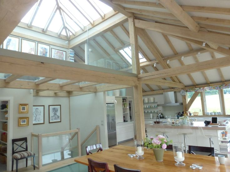 Natural light floods this open plan space thanks to the huge glazed lantern oak framed home - Skylight house plans natural light ...