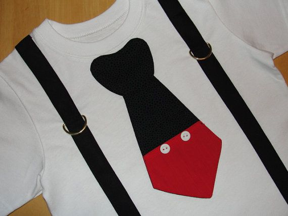 Mickey Mouse Tie T Shirt With Black Suspenders Disney Vacation, Birthday Party, Photo Prop Disney Clothing on Etsy, $21.95