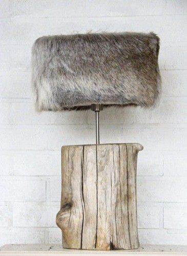 Wood stump & fur covered lamp shade. Cool lamp.