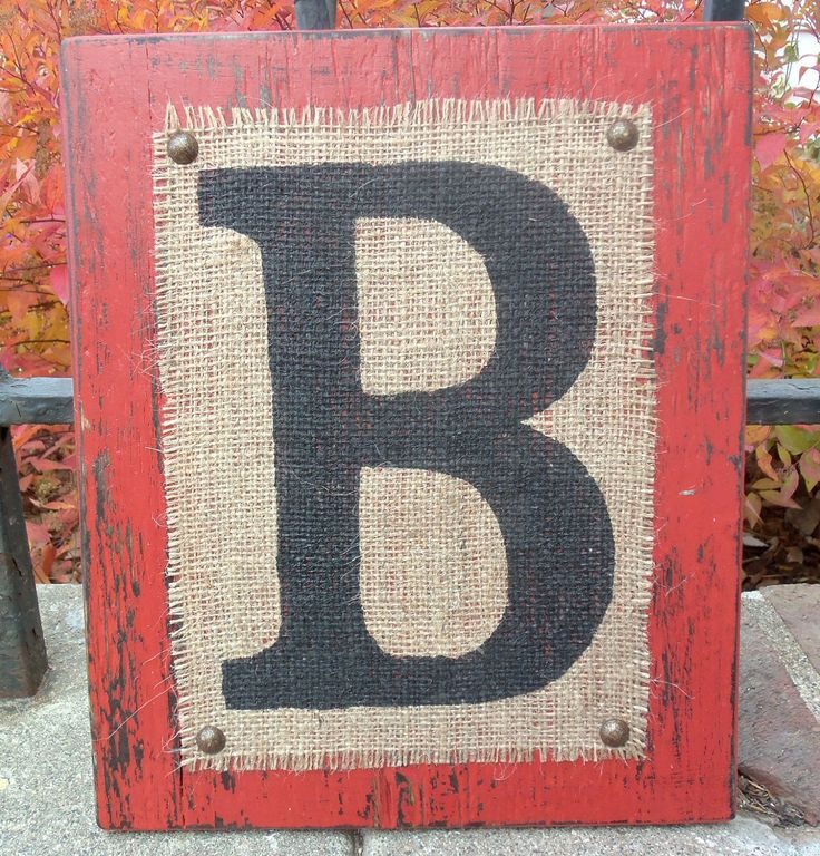 wood and burlap letters
