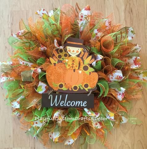 Blessings Fall Wreath Some details may vary slightly as my wreaths are re-created once original sells 3-5 business days before it ships. If you need this item sooner please send me a message prior to