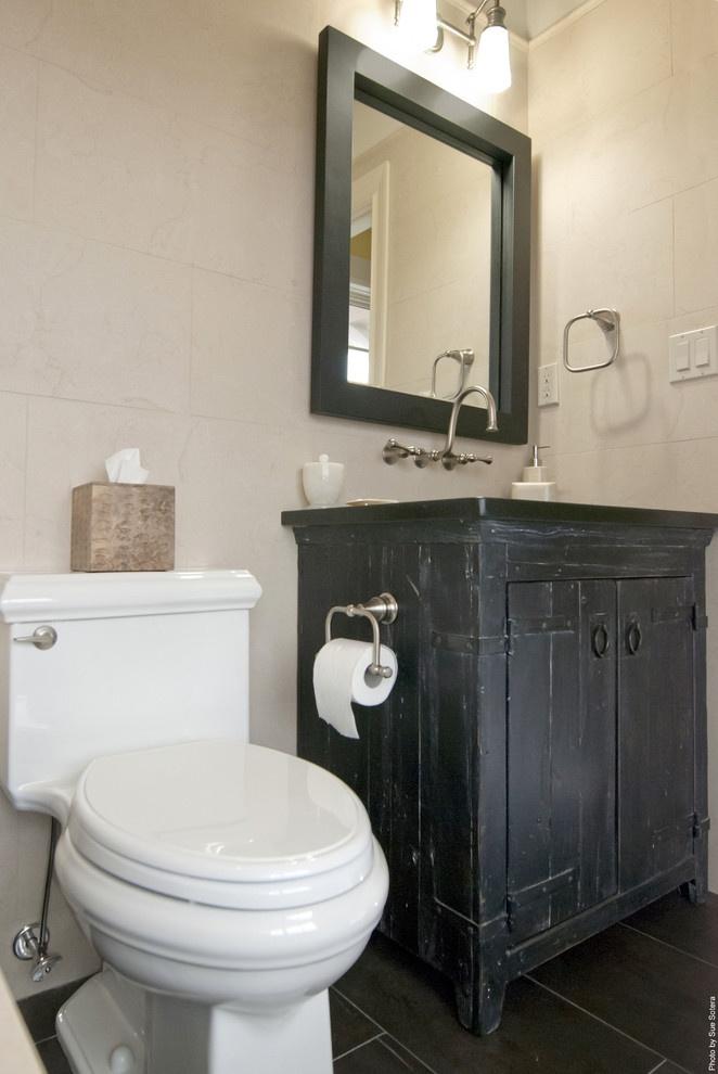 Native Trail Vanity, Kohler Toilet Paper Holder. South Shore Residence    Contemporary   Bathroom