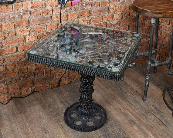 Beautiful Industrial Table Workshop Tools Metal And Glass