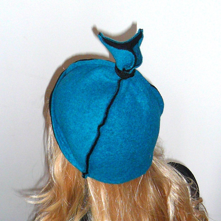 Fancy petrol teal fall winter cap, hat, beanie, felted loden, wool with black cotton lining. $34.00, via Etsy.