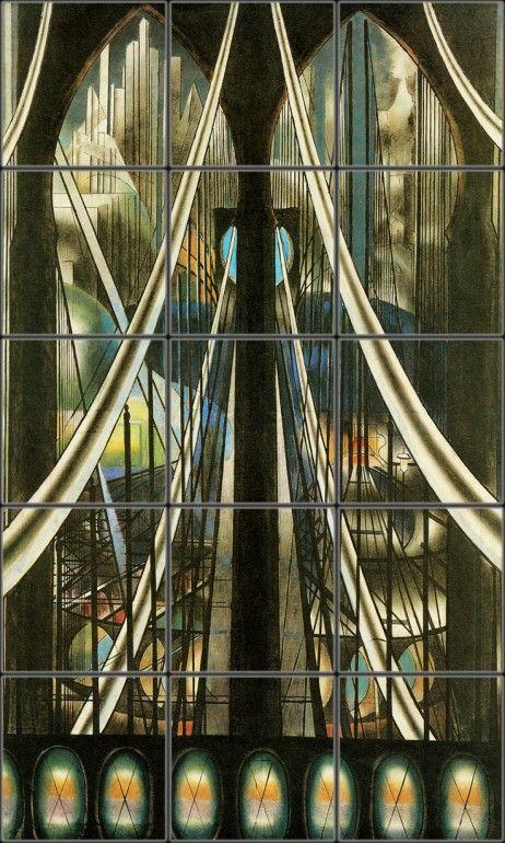 Brooklyn Bridge Modern Tile Mural | Pacifica Tile Art Studio