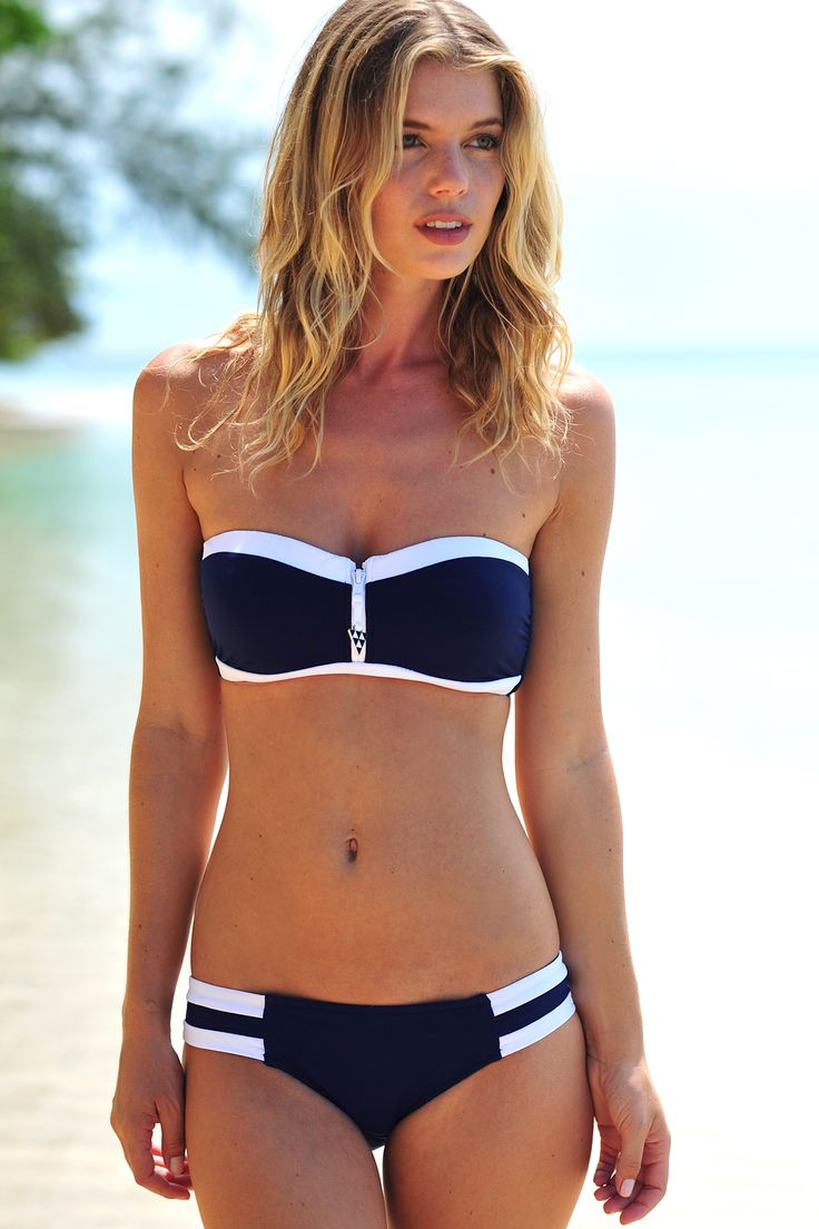 Navy and white bikini by Seafolly with cheeky zip detail ...