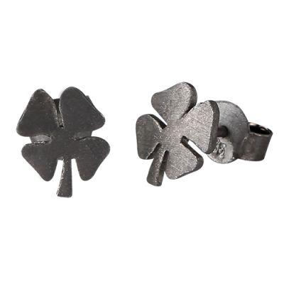 Fine firkløver ørestikkere i sort sølv