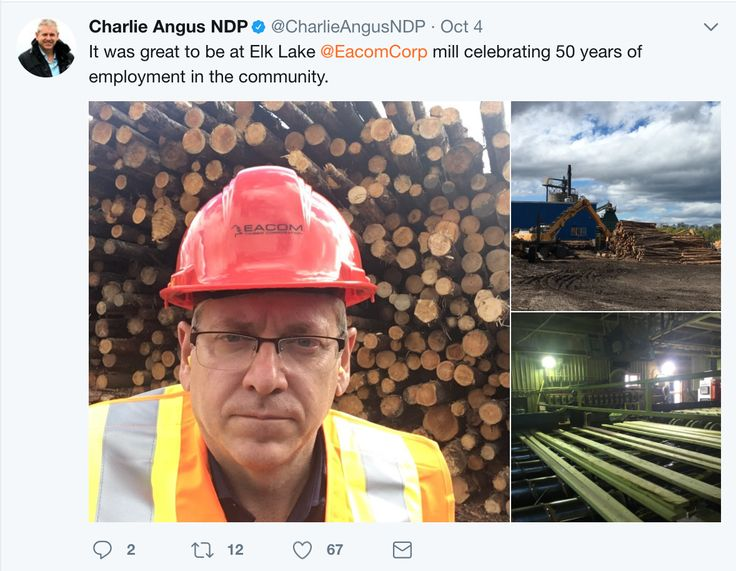No information on what goals are trying to be achieved with this picture.  Charlie Angus is a very vocal supporter of Unions however that is not mentioned in this post. Could be seen as promoting big business