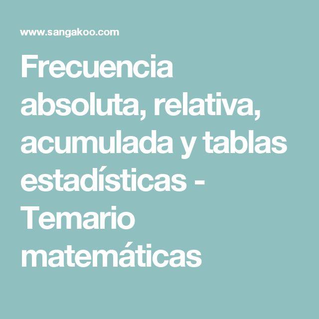 Frecuencia absoluta, relativa, acumulada y tablas estadísticas - Temario matemáticas