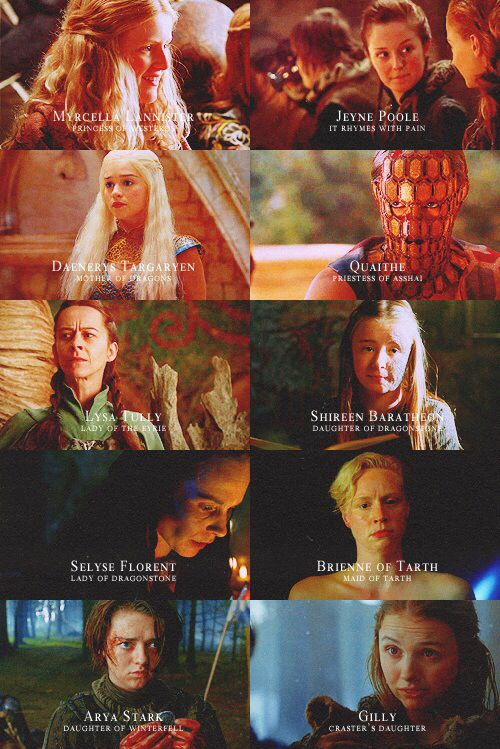 Myrcella Lannister: Princess of Westeros. Jeyne Poole: It Rhymes with Pain. Daenerys Targaryen: Mother of Dragons. Quaithe: Priestess of Asshai. Lysa Tully: Lady of the Eyrie. Shireen Baratheon: Daughter of Dragonstone. Selyse Florent: Lady of Dragonstone. Brienne of Tarth: Maid of Tarth. Arya Stark: Daughter of Winterfell. Gilly: Craster's Daughter