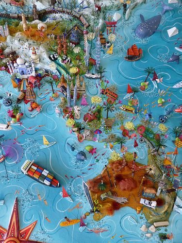 Sara Drake - Asia Pacific detail from large 3D world map.  Maps are made from mixed media, including papier mache, balsa wood, acrylic paint, beads and wire. All details are hand made and to commission. Each map is personalised with the details of the client's own travels.