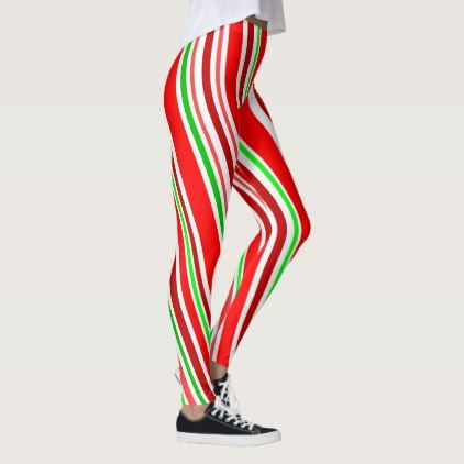 Candy Cane Slimming Spiral Stripes Red White Green Leggings - Xmas ChristmasEve Christmas Eve Christmas merry xmas family kids gifts holidays Santa