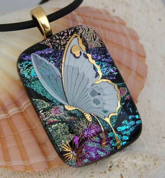 RAINBOW BUTTERFLY, Dichroic Pendant - by dichroiccreations